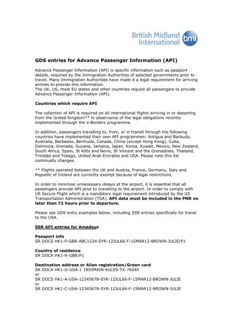 GDS entries for Advance Passenger Information (API) - British Airways