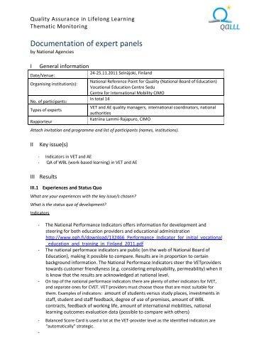 Documentation expert panel FI - QALLL