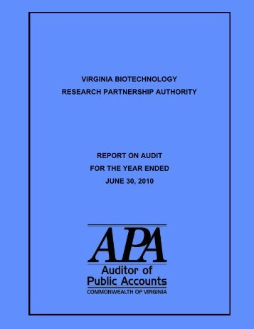 Virginia Biotechnology Research Partnership Authority for the year ...
