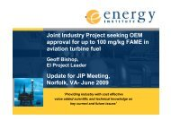 OEM Approval for up to 100mg/kg FAME in Aviation Turbine Fuel