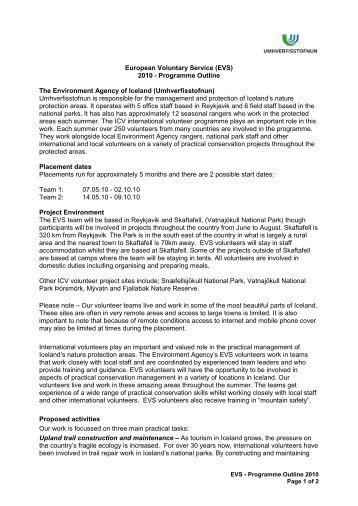 UST – National Parks Volunteer Placements ... - Umhverfisstofnun