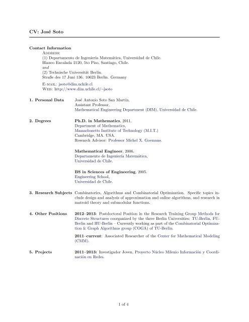 Curriculum Vitae Dim Universidad De Chile