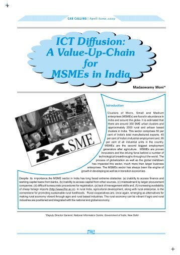 ICT Diffusion- Value Chain for MSMEs - Digital Knowledge Centre