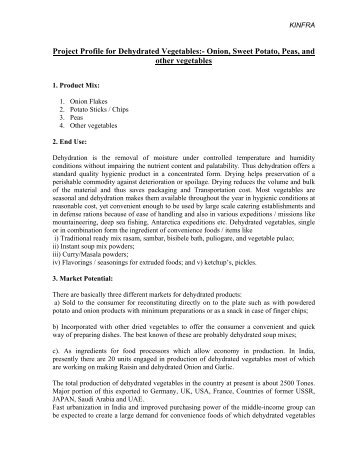 Project Profile for Dehydrated Vegetables:- Onion ... - Emerging Kerala