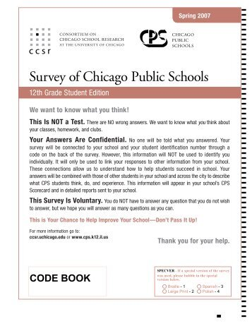 12th Grade Student Survey Form and code book - UChicago ...