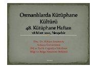 Osmanlılarda Kütüphane Kültürü - Nevşehir Üniversitesi