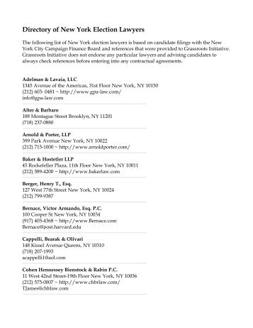 Directory of New York Election Lawyers - Grassroots Initiative