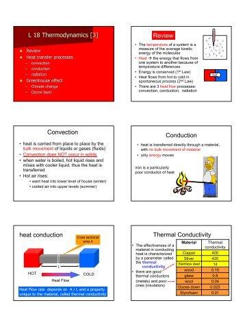 L 18 Thermodynamics [3] Review Convection Conduction heat ...
