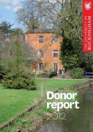 Donor report 2012 - University of Buckingham