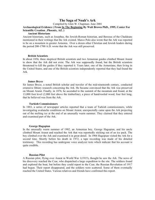 The Saga Of Noah S Ark Chapmanresearch