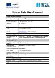 Erasmus Student Work Placement