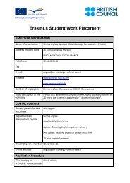 Erasmus student work placements
