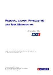 residual values, forecasting and risk minimisation - University of ...