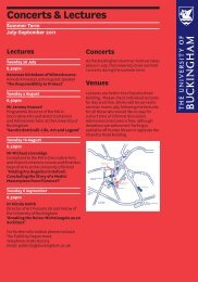 Concerts & Lectures - University of Buckingham