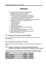 Gemeinderatssitzung vom 15.10.2009 Tagesordnung