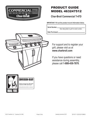 PRODUCT GUIDE MODEL 463247512 - Char-Broil Grills