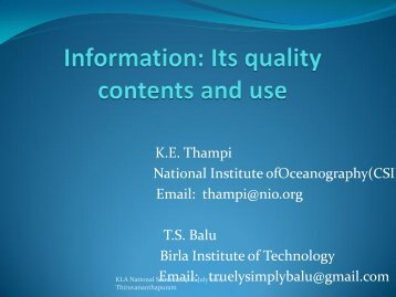 K. E. Thampi and T. S. Balu. Information - CONTENT ...