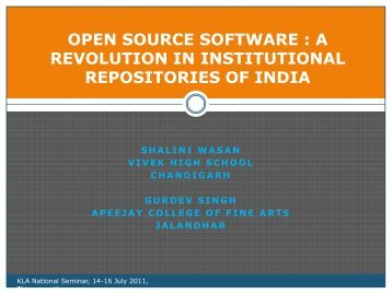 Open Source Software - CONTENT MANAGEMENT AND LIBRARIES