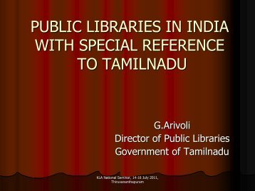 Public Libraries in India with special reference to - CONTENT ...