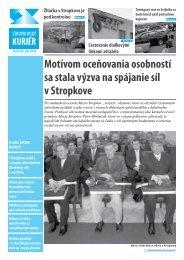 Motívom oceňovania osobností sa stala výzva na ... - Mesto Stropkov