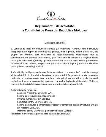 Regulamentul de activitate a Consiliului de Presă din Republica ...