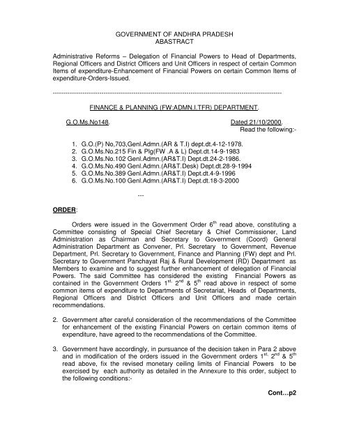G O  Ms  No  148 FINANCE & PLANNING - Seri ap gov in