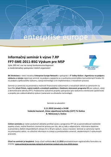 Pozvánka a program - Enterprise Europe Network
