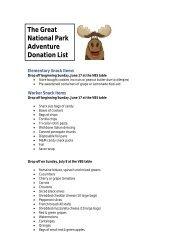 The Great National Park Adventure Donation List - College Park ...