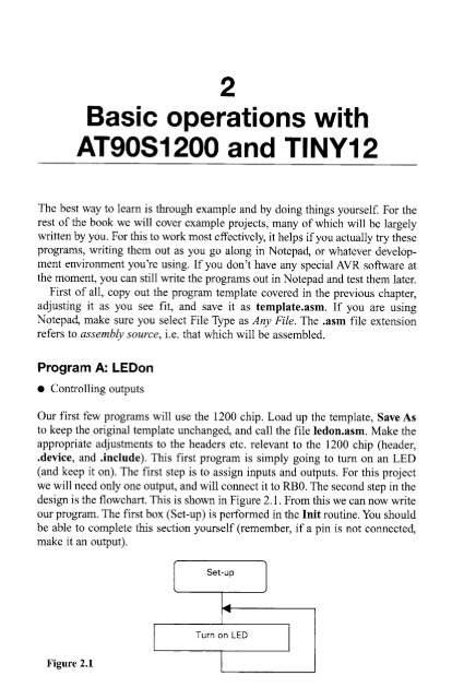 Basic operations with AT90S1200 and TINY12