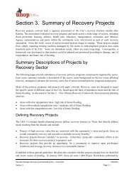 Section 3. Summary of Recovery Projects