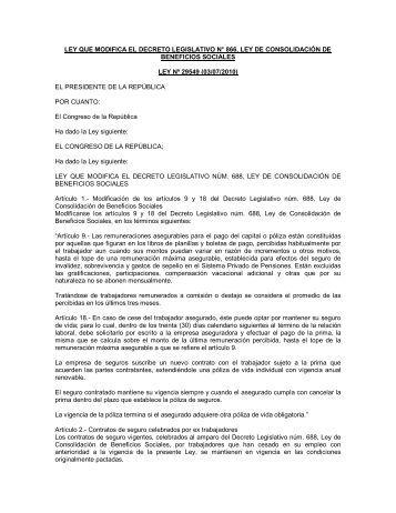 ley que modifica el decreto legislativo n° 866, ley de consolidación ...