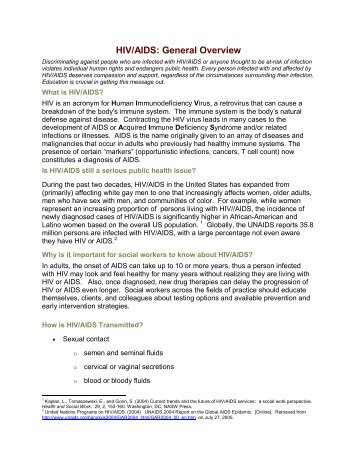 HIV/AIDS: General Overview - National Association of Social Workers