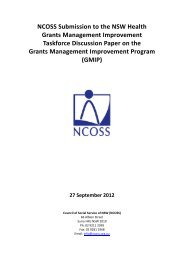 NCOSS Submission to the NSW Health Grants Management ...
