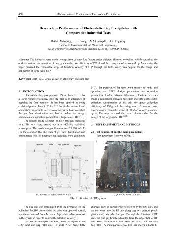 Research on Performance of Electrostatic–Bag Precipitator - isesp