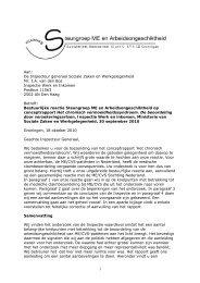 Aan: De Inspecteur generaal Sociale Zaken en ... - Inspectie SZW