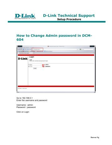How to Change Admin password in DCM-604 - D-Link