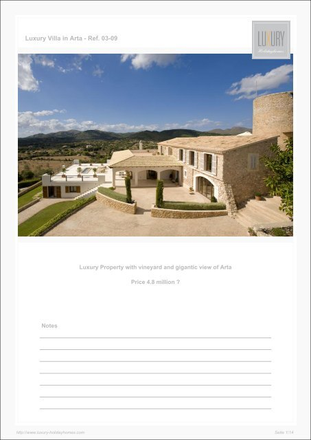 Luxury Villa in Arta - Ref. 03-09 - Luxury Holidayhomes on Mallorca