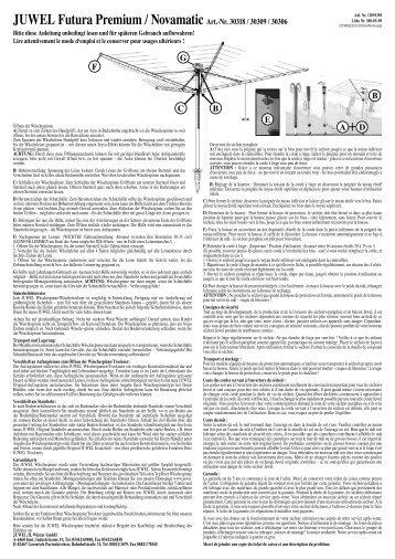 JUWEL Futura Premium / Novamatic Art.-Nr. 30318 / 30309 / 30306