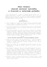 Obec Krásno obecně závazná vyhláška o čistotě a veřejném pořádku
