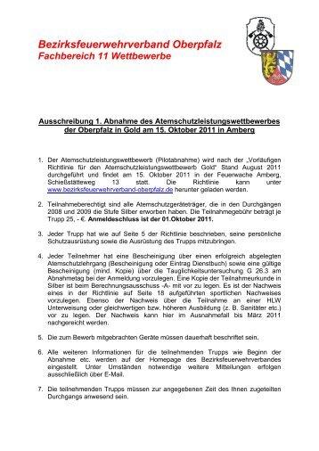 Bezirksfeuerwehrverband Oberpfalz Fachbereich 11 Wettbewerbe