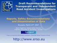 Reports, Safety Recommendations and Dissemination of Data - ERSO