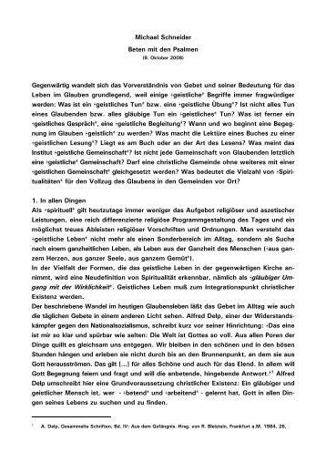 Michael Schneider Beten mit den Psalmen Gegenwärtig ... - Kath.de