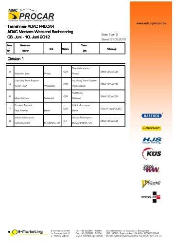Teilnehmerliste, Stand 31.05.2012 - ADAC Procar