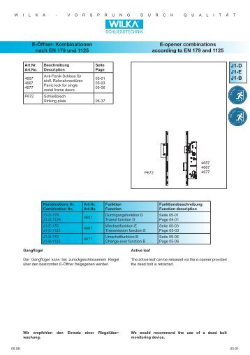 J1-D J1-E J1-B E-Öffner- Kombinationen nach EN 179 und ... - Market