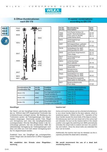 K6-D K6-E K6-B E-Öffner-Kombinationen nach EN 179 E ... - Market
