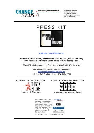 to download WRONG SIDE OF THE BUS press kit - Ronin Films