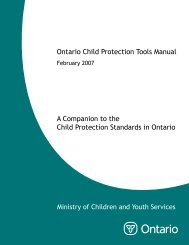 Ontario Child Protection Tools - Ministry of Children and Youth ...