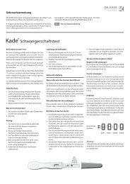 beipackzettel kade schwangerschaftstest - Dr. Kade