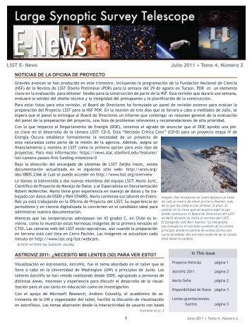 LSST E- News Julio 2011 • Tomo 4, Número 2