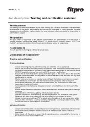 View training and certification assistant job description - Fitness ...